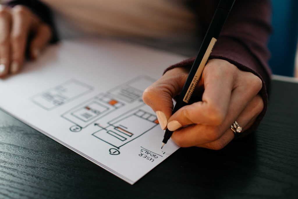 person drawing sitemap
